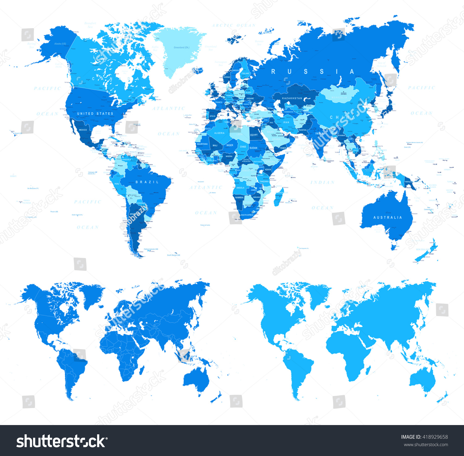 Blue World Map Borders Countries Cities Stock Vector - World map with cities and countries