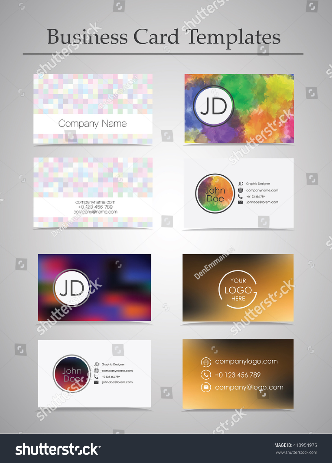 Business card templates set isolated on stock vector 418954975 business card templates set isolated on gray background abstract and watercolor backgrounds reheart Choice Image