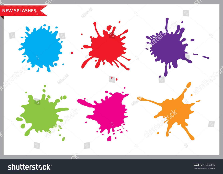 Stock Vector Alliesinteract 11211360: Colorful Paint Splatterspaint Splashes Setvector