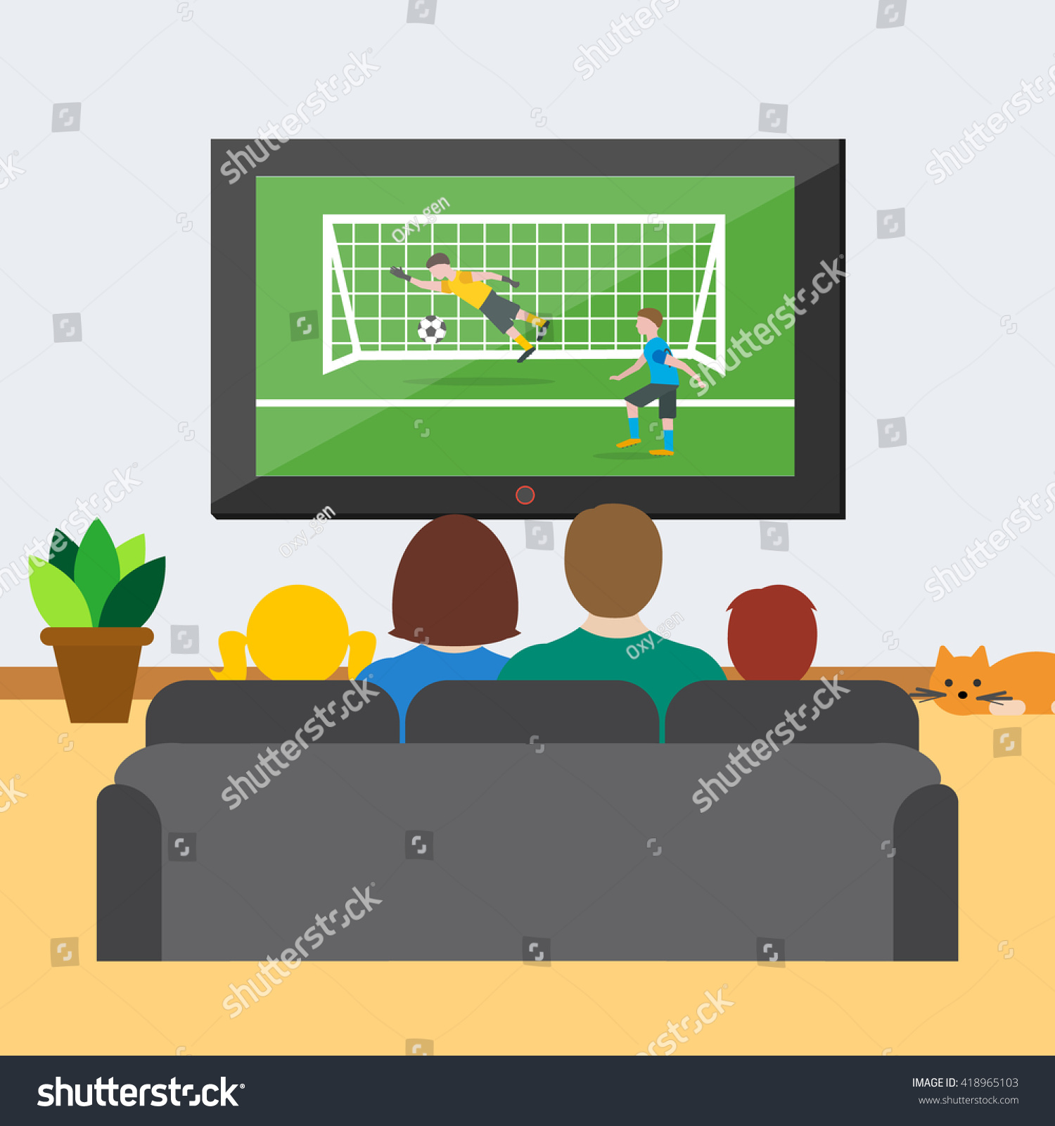 Family Sitting On Sofa Home Watching Stock Vector ...