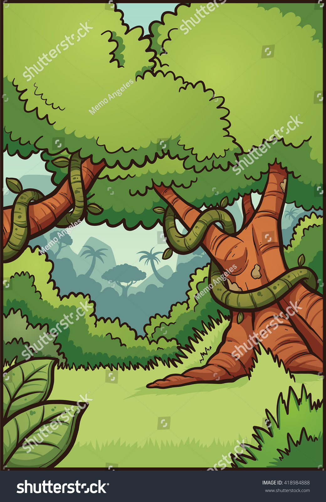 Animals in jungle background Royalty Free Vector Image