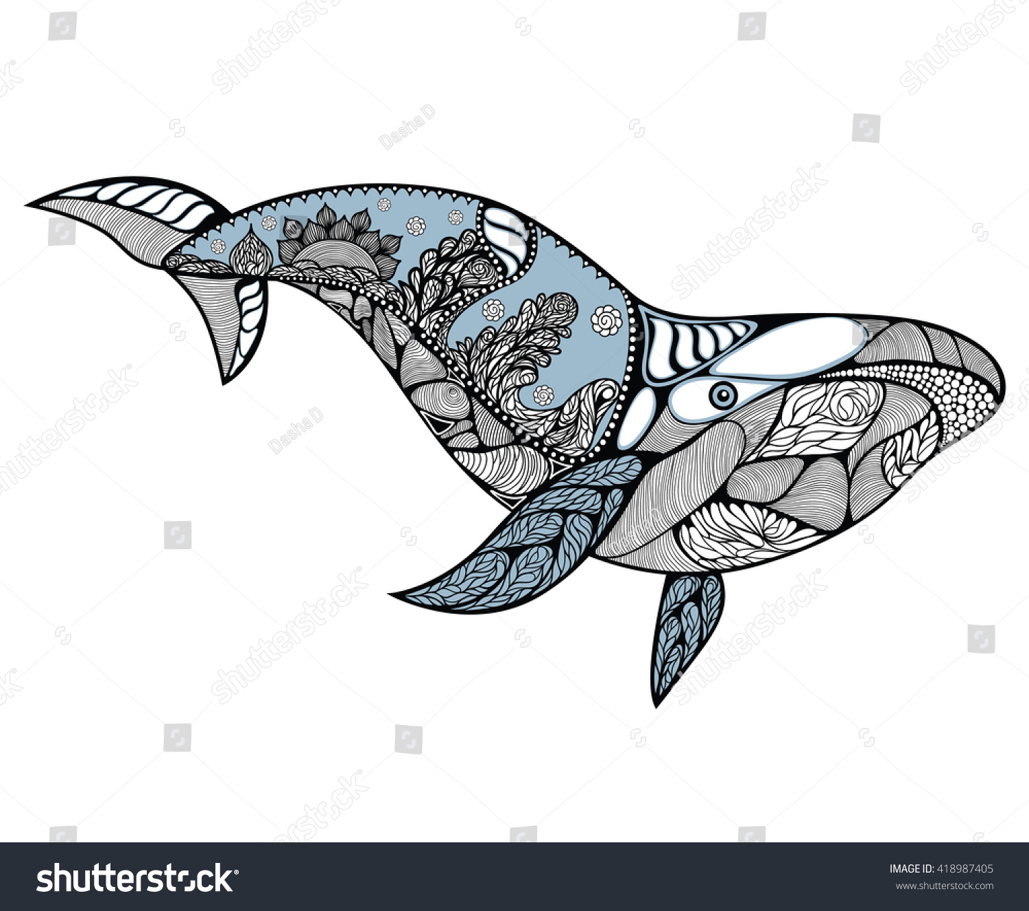 Stock vector ethnic animal doodle detail pattern killer whale - Big Blue Whale With Wavy Ornaments And Hand Drawn Shapes Whale Pattern With High Details