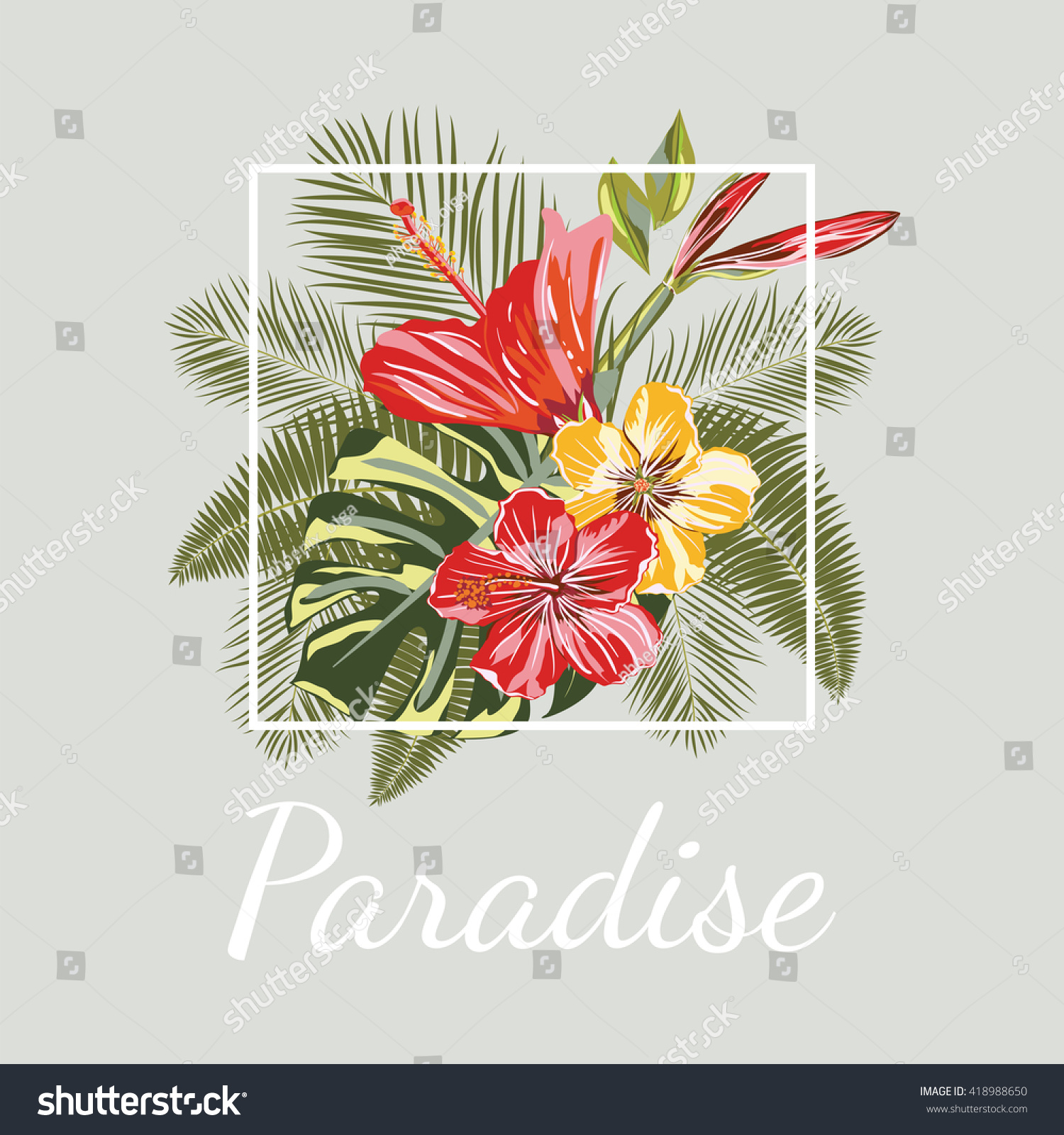 Paradise template tropical flower bouquets on stock vector 418988650 template tropical flower bouquets on isolated background vector colorful blooming branches ideally izmirmasajfo Images