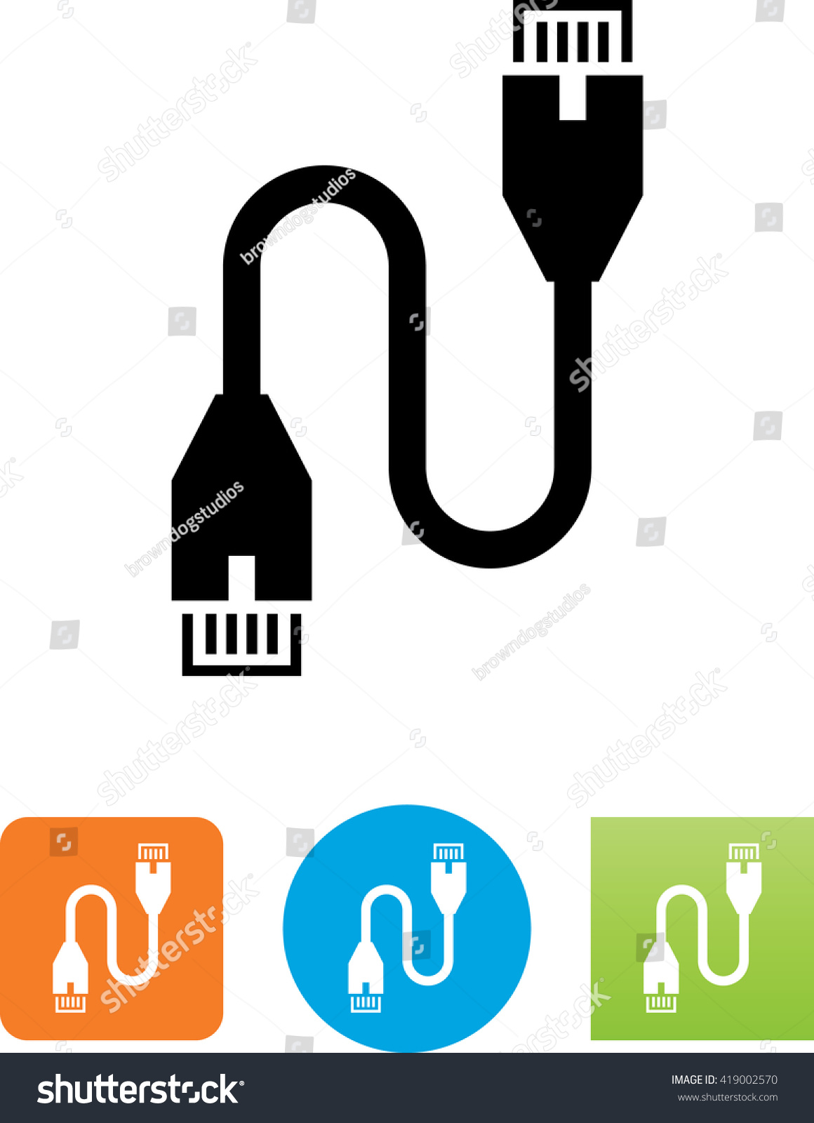 Cat 5 Ethernet Cable Icon Stock Vector (2018) 419002570 - Shutterstock