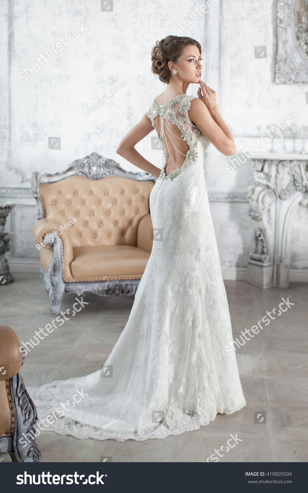 Bride Wedding Dress His Apartment Paris Stock Photo (Edit Now ...