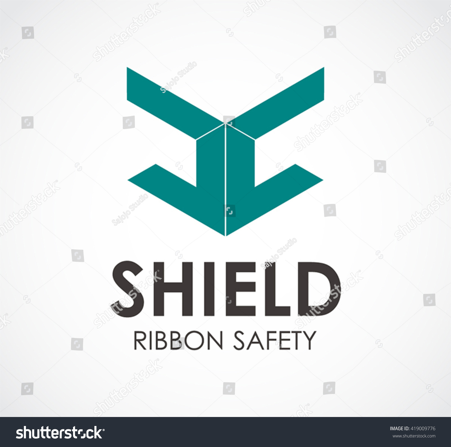 Shield Ribbon Of Safety Abstract Vector And Logo Design Or Template Protection Business Icon Company