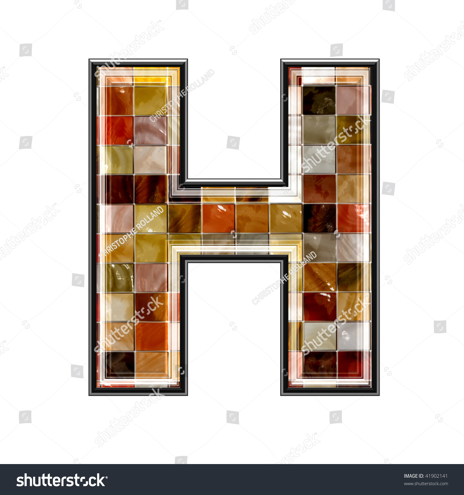 3d letter ceramic tiles texture h stock illustration 41902141 3d letter with ceramic tiles texture h doublecrazyfo Image collections