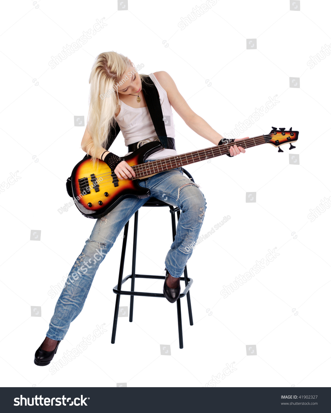 Young Blond Woman Playing Bass Stock Shutterstock