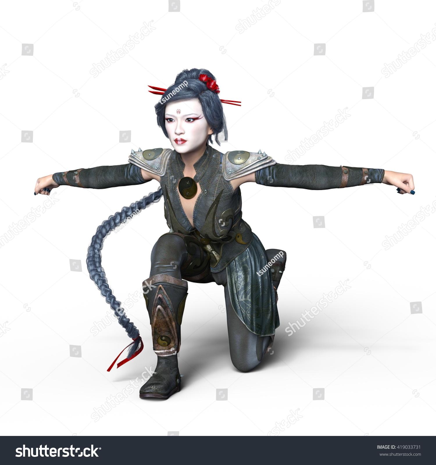 3 D Cg Rendering Female Ninja Stock Illustration Royalty Free
