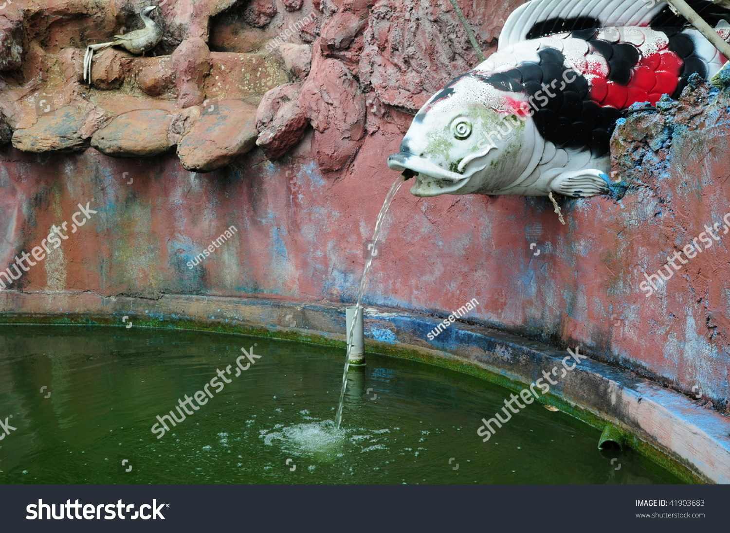 Koi fish water feature stock photo 41903683 shutterstock for Koi fish in water