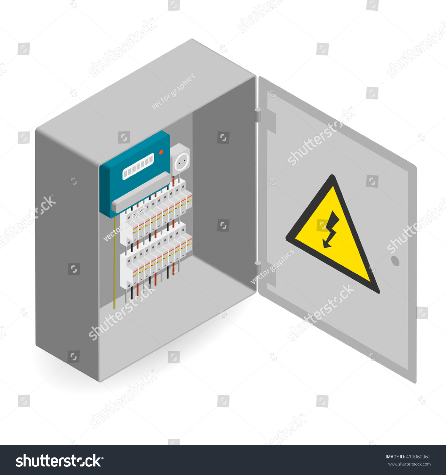 Electrical Panel Electric Meter Circuit Breakers Stock Vector ...