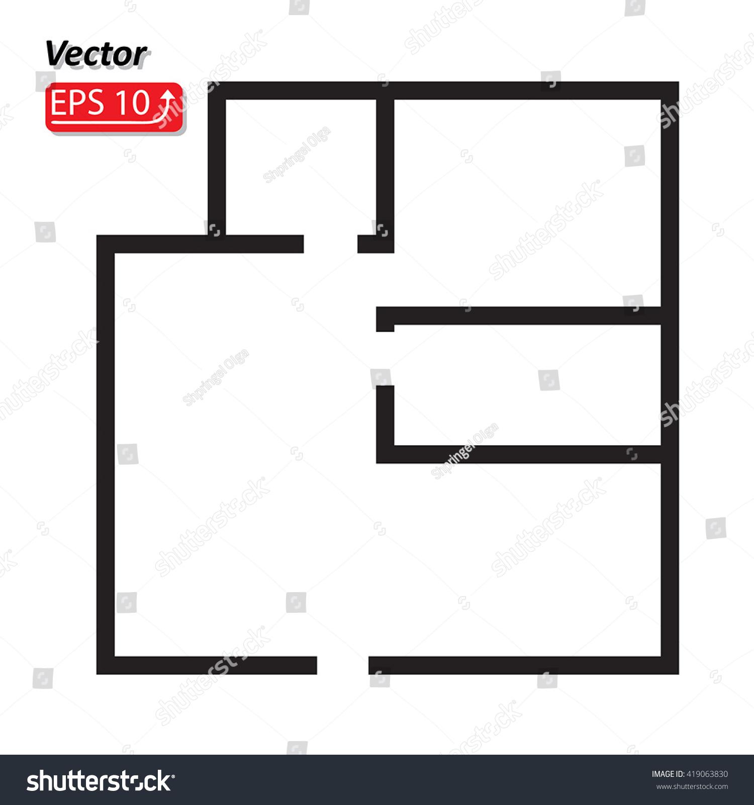 Black white house apartment plan house stock vector 419063830 black and white house apartment plan house home building architecture blueprint icon vector illustration malvernweather Images