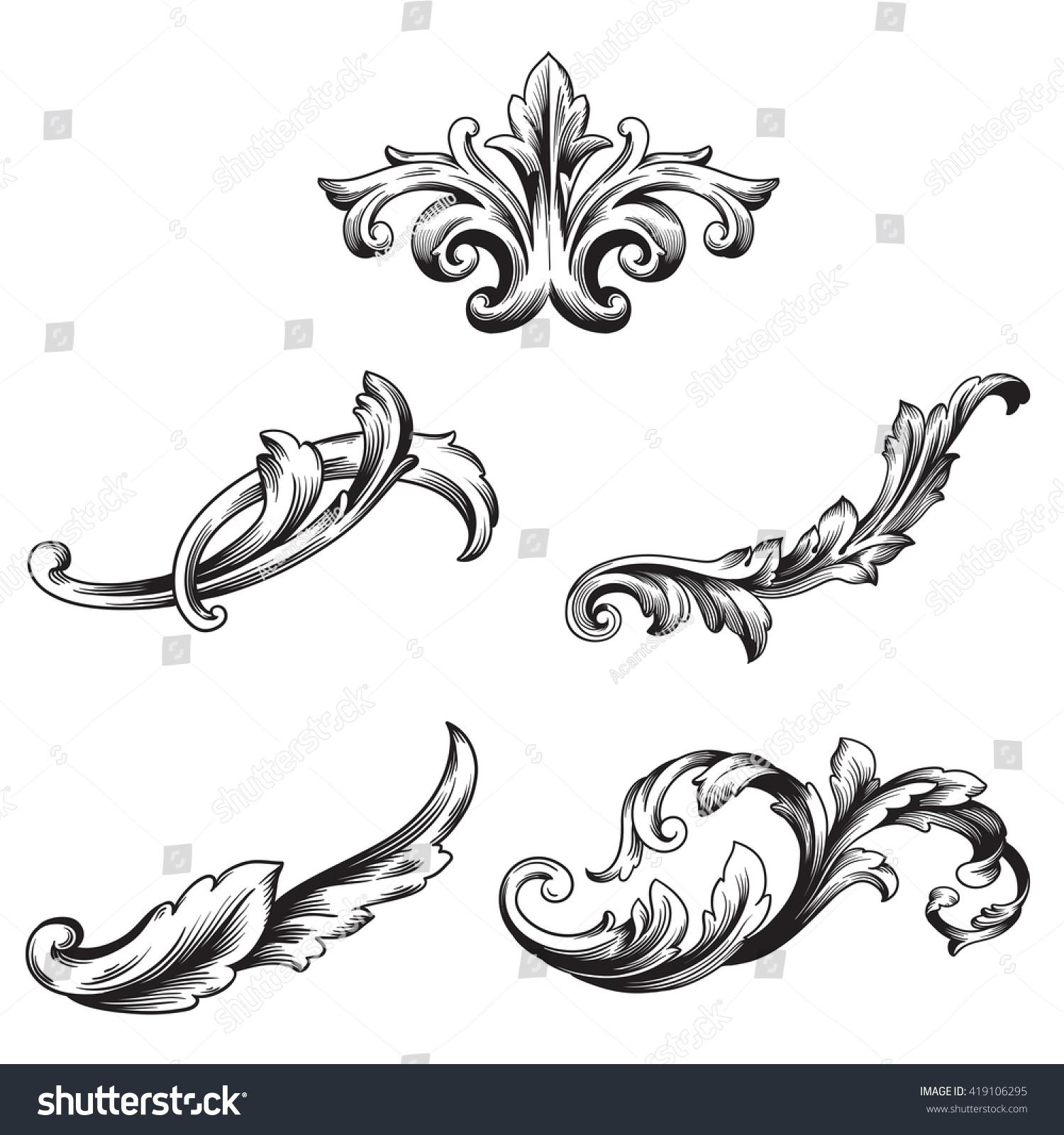 illustration of set of vintage design elements baroque vector premium quality baroque ornament