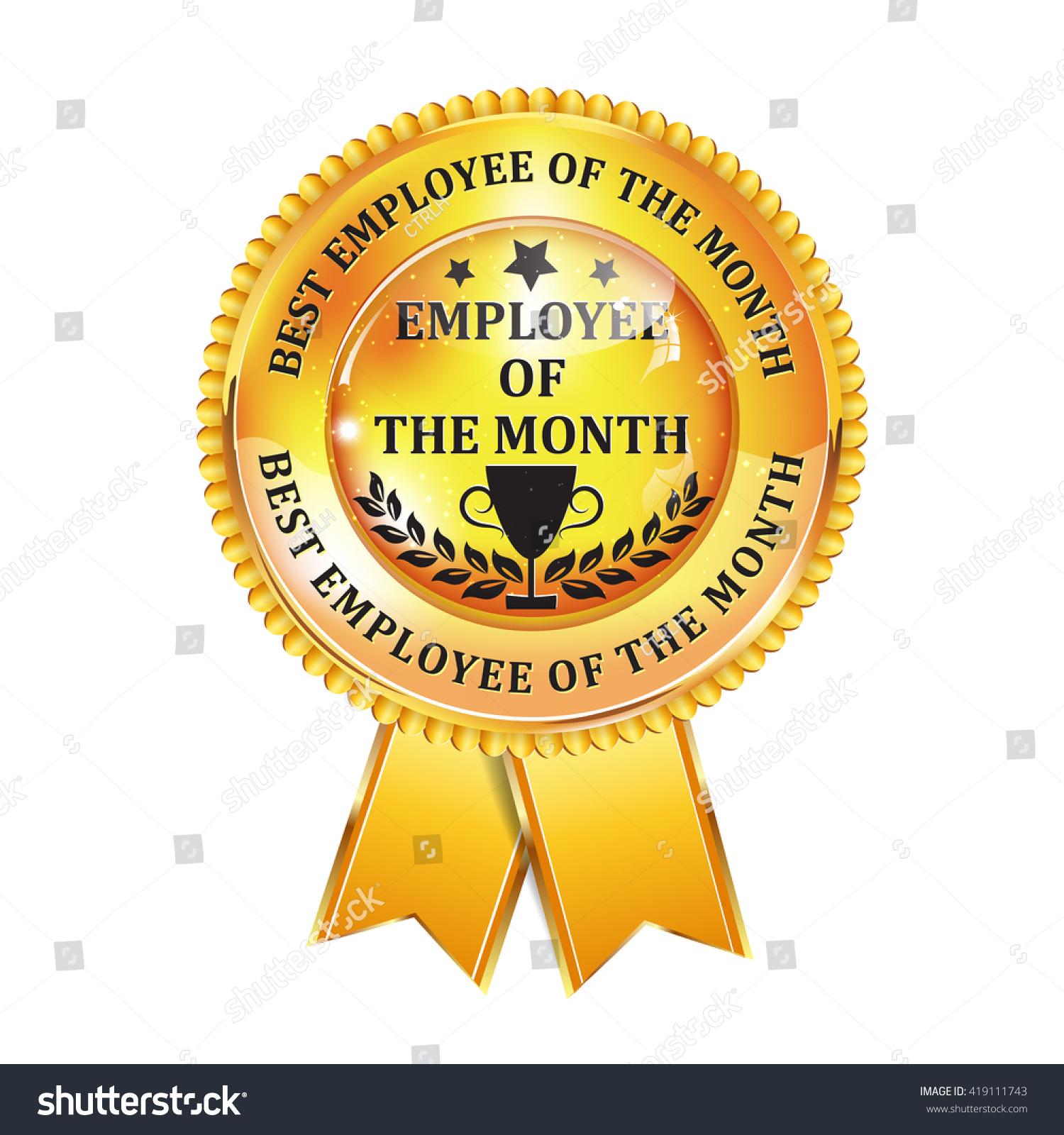 employee of the month elegant golden black award ribbon - Employee Of The Month Award