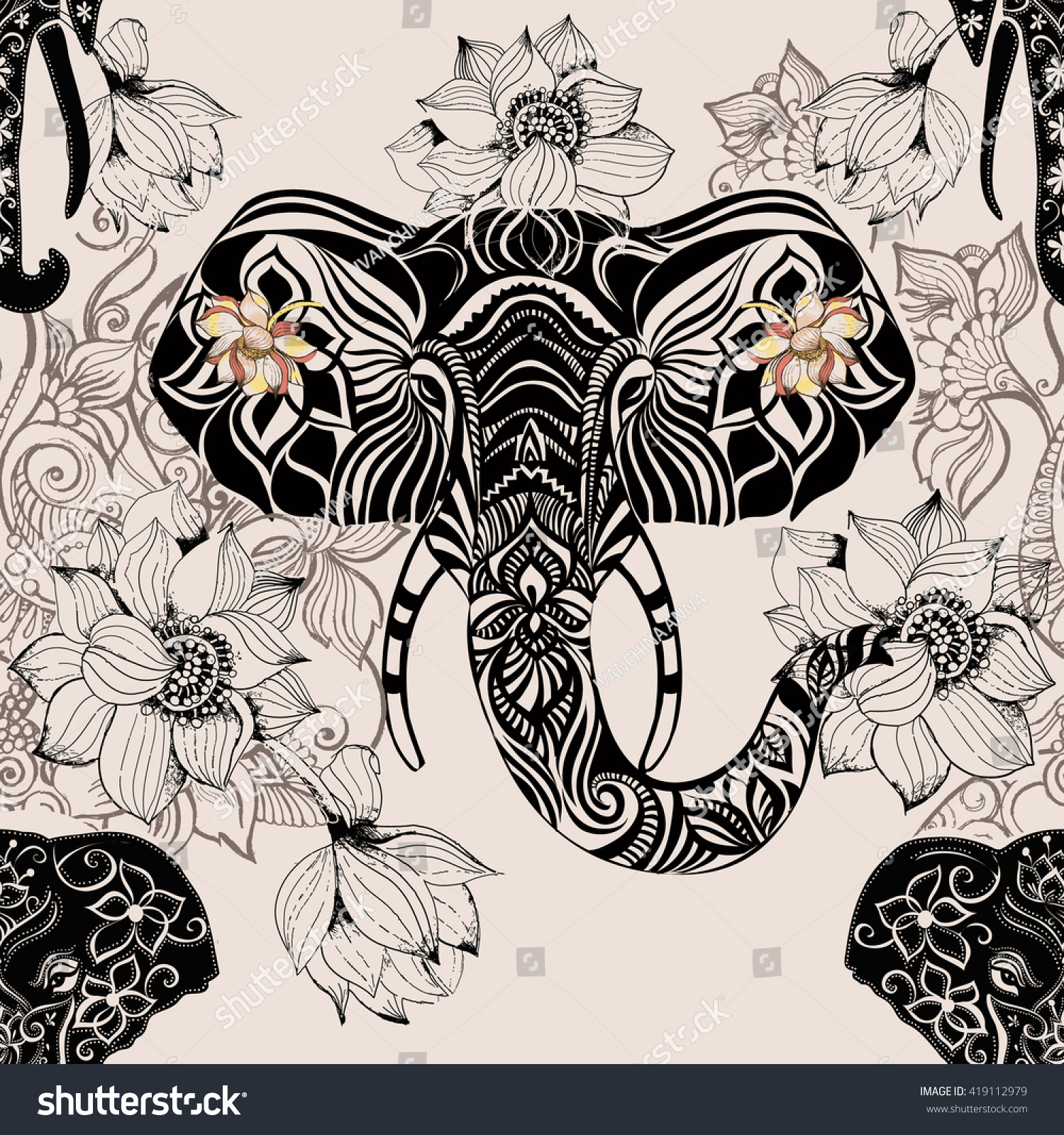 Seamless Pattern With Elephant Indian Patterns And Colors Head