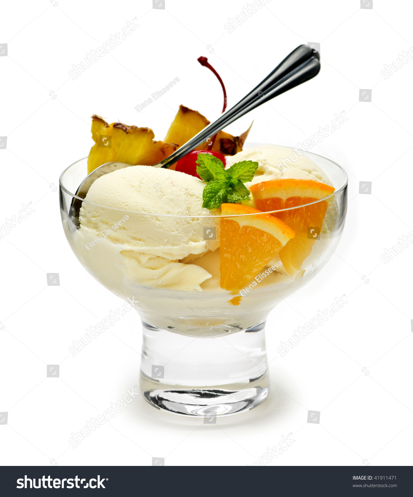 Get The Scoop And Dish It Out: Dish Of Ice Cream And Fruit Isolated On White Background Stock Photo 41911471 : Shutterstock