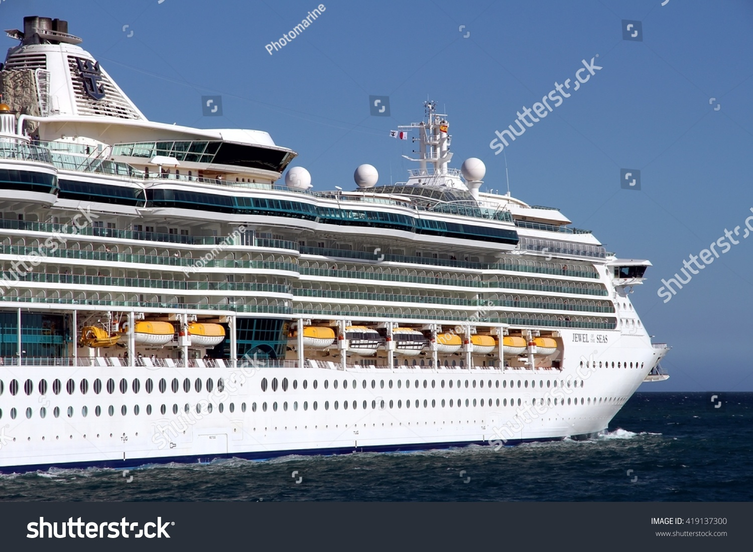 Alicante Spain May Starboard Side Stock Photo - Port or starboard side of cruise ship