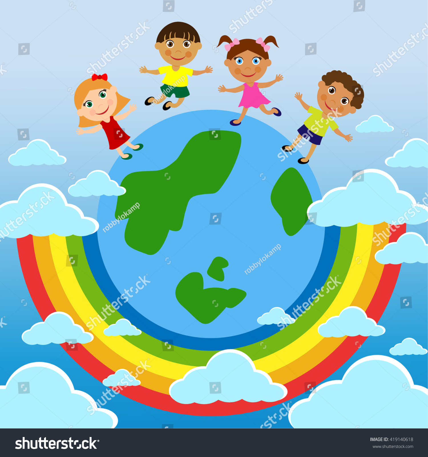 Family parents childrens day stand on stock vector 419140618 a family parents childrens day stand on earth underneath the rainbow blue biocorpaavc Image collections