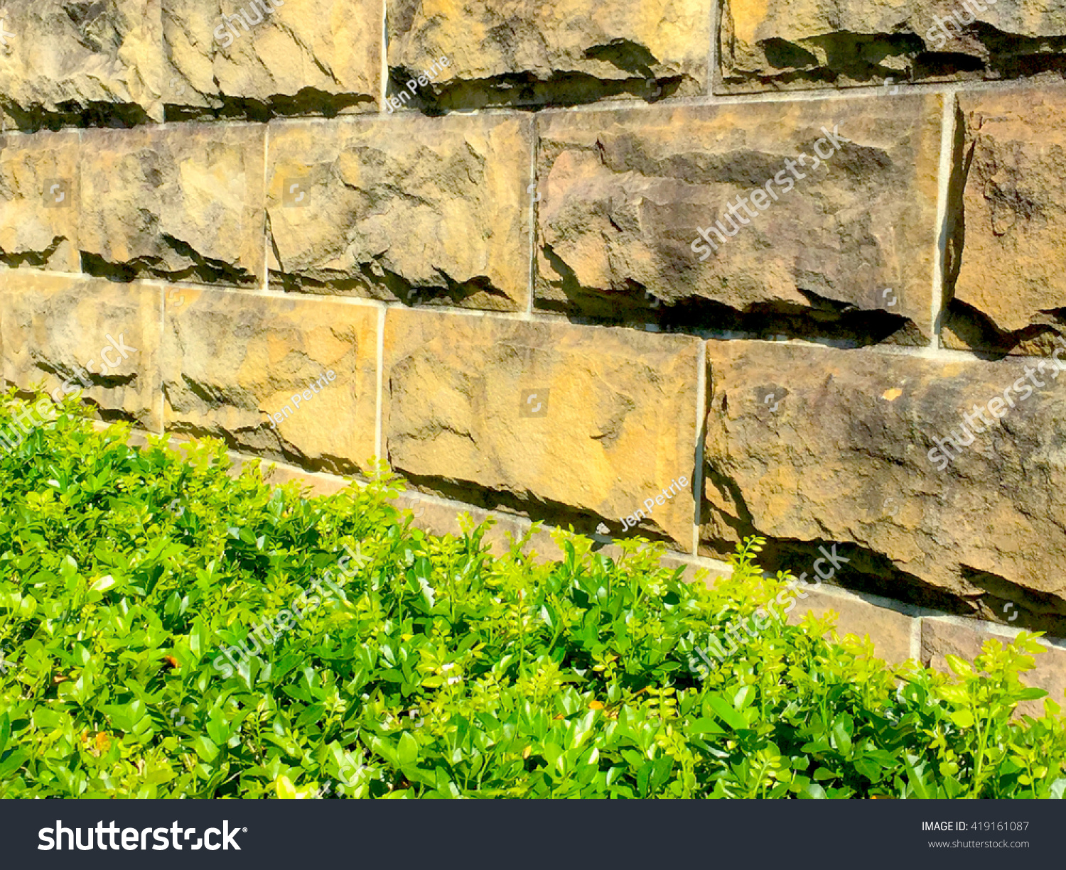 Abstract Landscaping Sandstone Retaining Wall Vignette Stock Photo ...