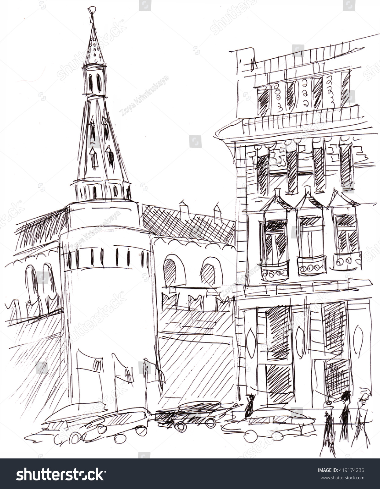Architecture Drawing Cars instant sketch moscow street cars people stock illustration