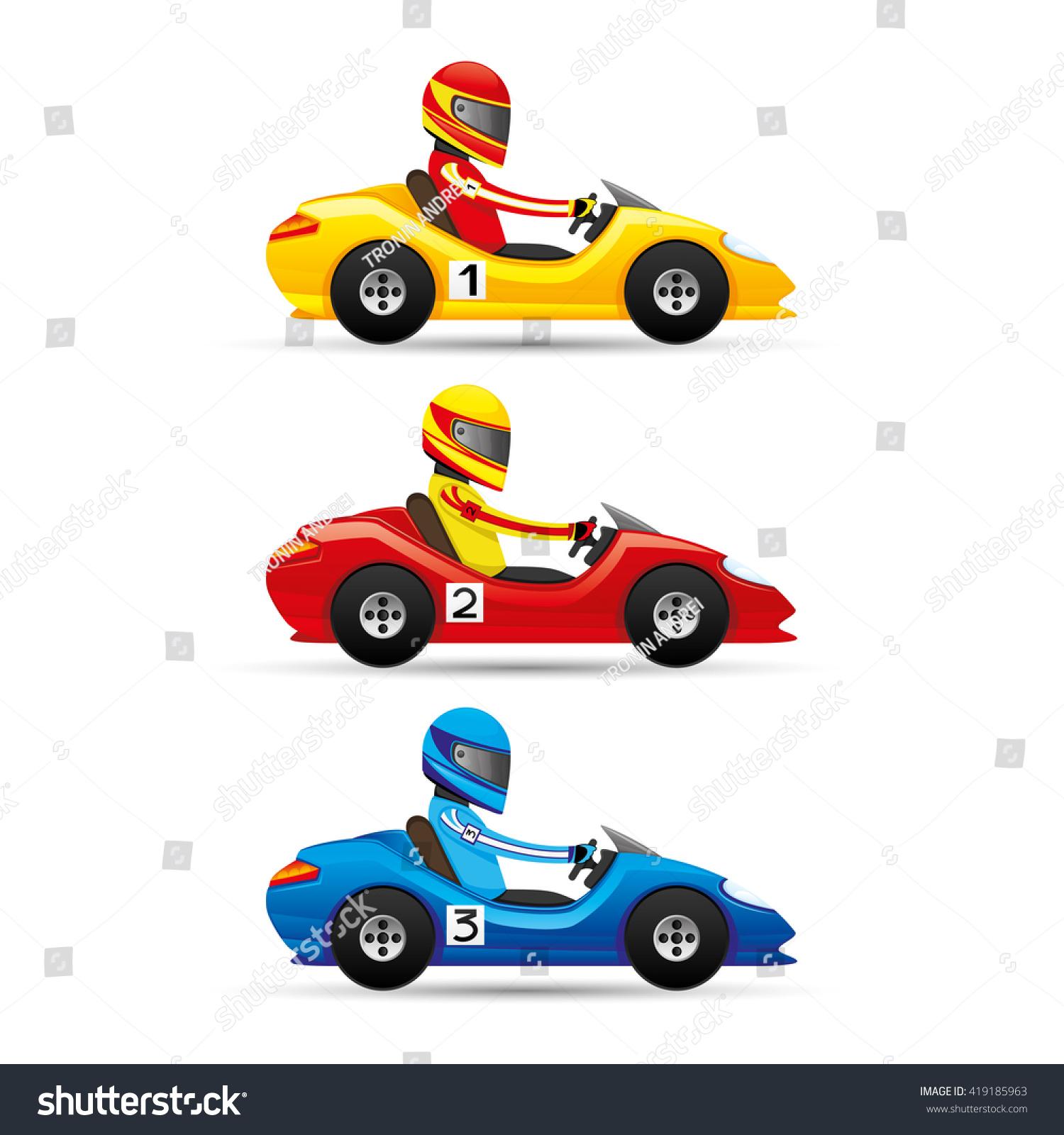Vector set Mini racing cars