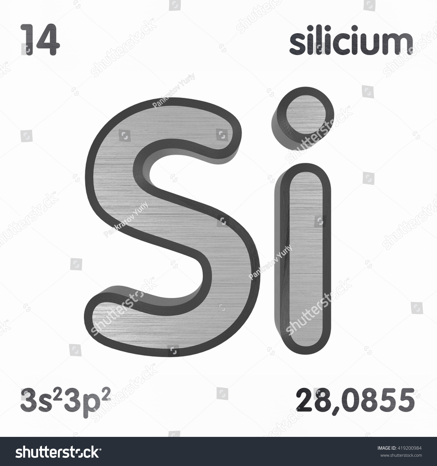 Periodic table elements silicon 3d title stock illustration periodic table of elements silicon 3d title isolated on white 3d rendering biocorpaavc Gallery