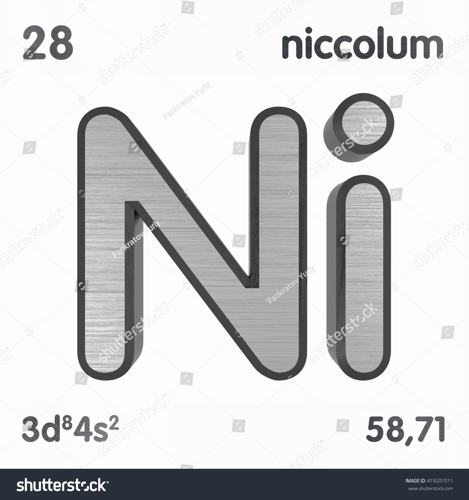Periodic Table Elements Nickel 3 D Title Stock Illustration