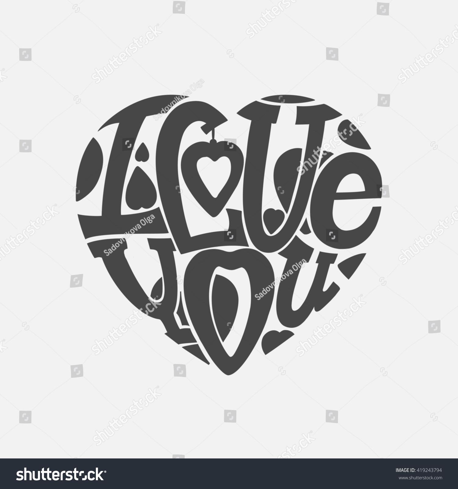 Design Lettering I Love You Hand Stock Illustration