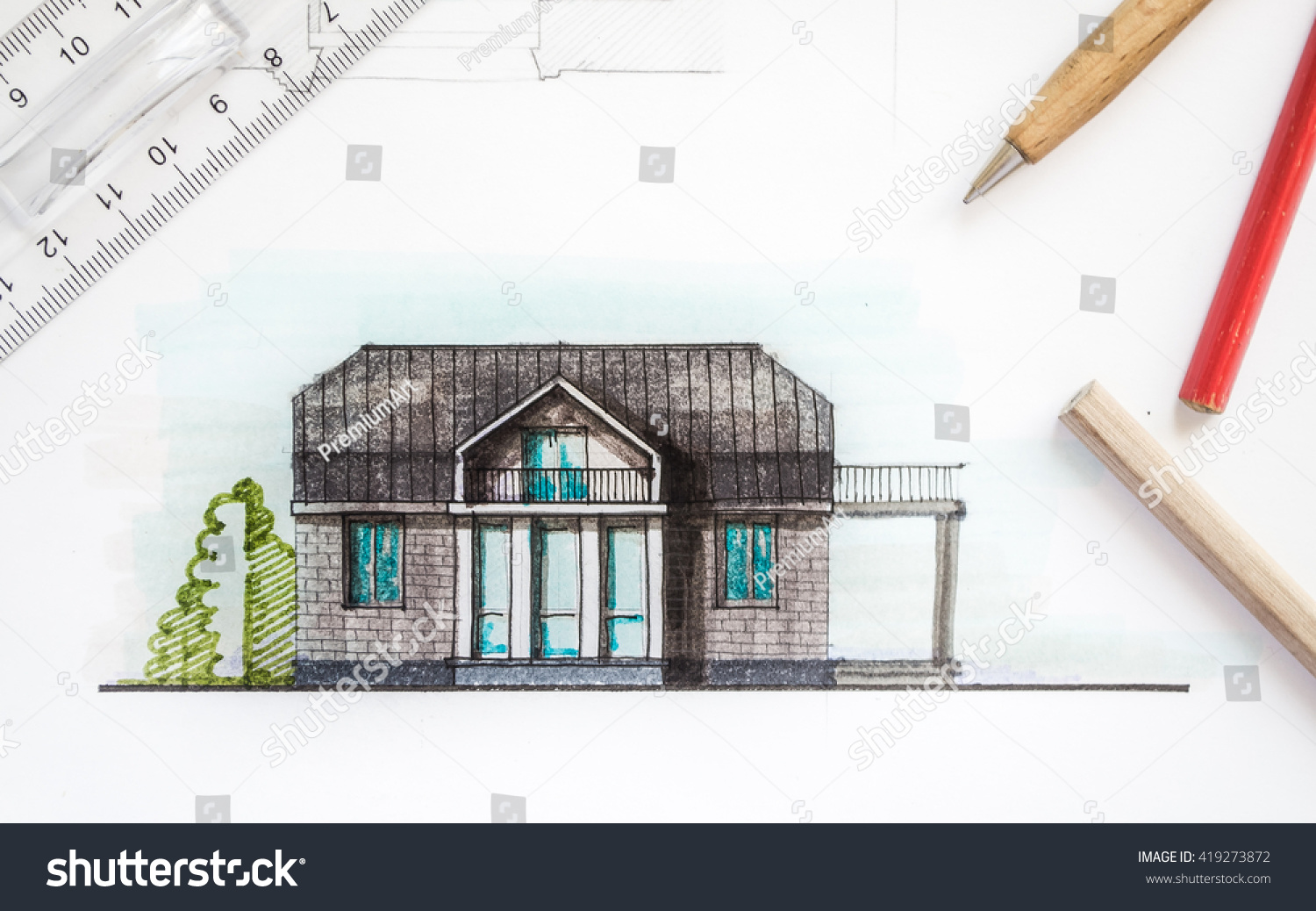 Awesome Interior Designer Or Architect Hand Working With Blueprints Equipment  Objects And Color Image Of Drawn House