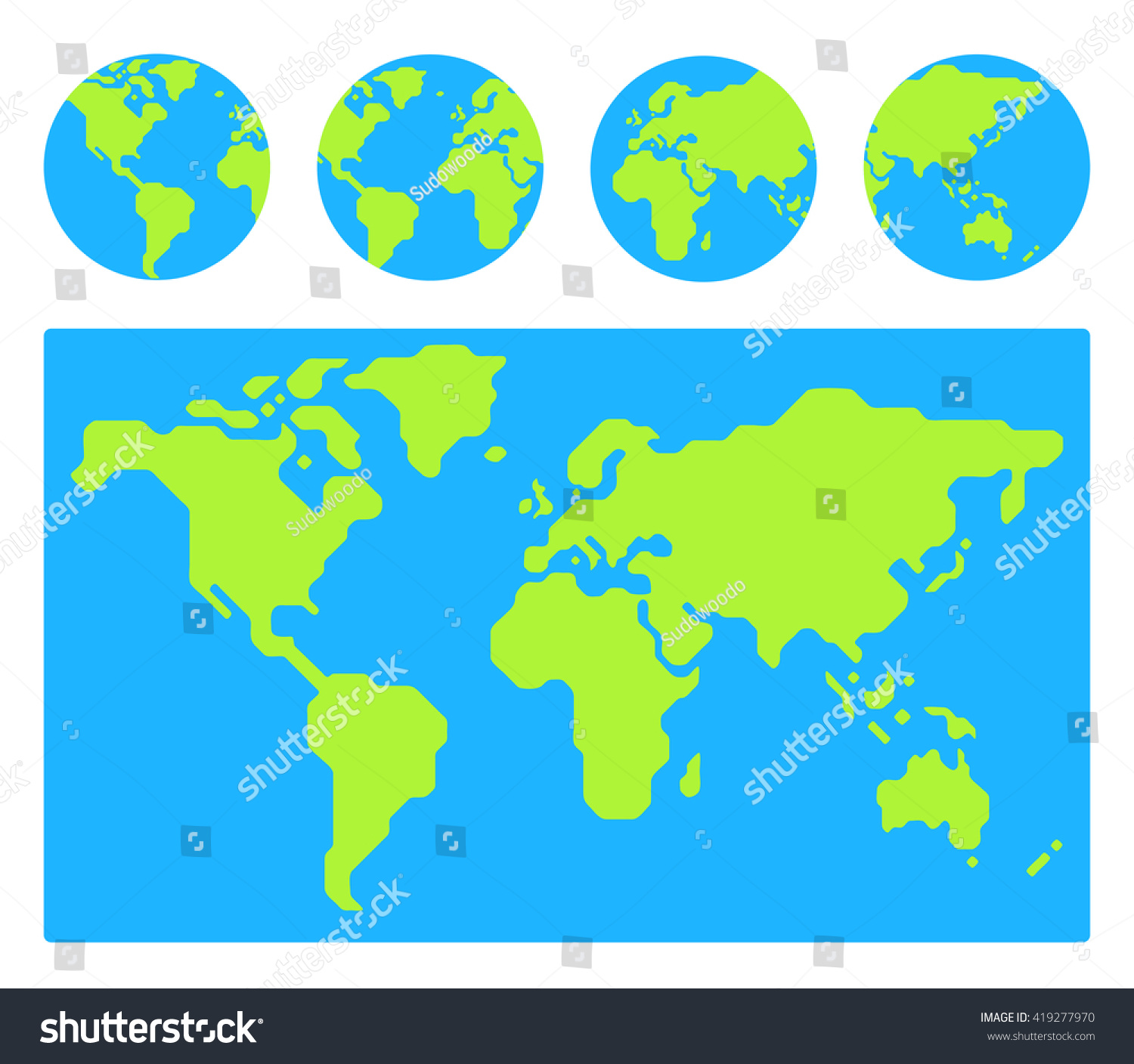 World Map Globe Icons Different Stock Vector - Flat globe map