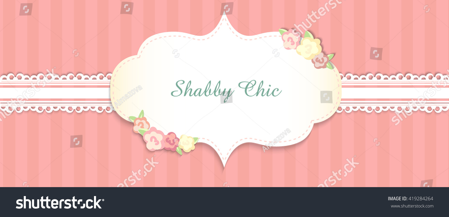 Shabby Chic Congratulations Card Template Wedding Stock Vector