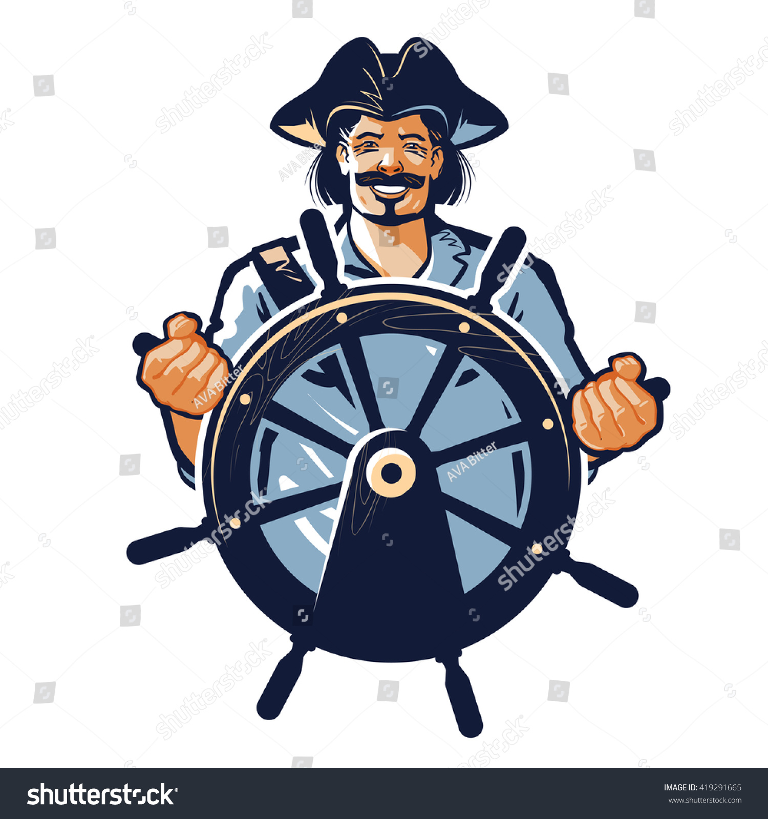 pirate vector logo corsair or captain sailor seafarer icon