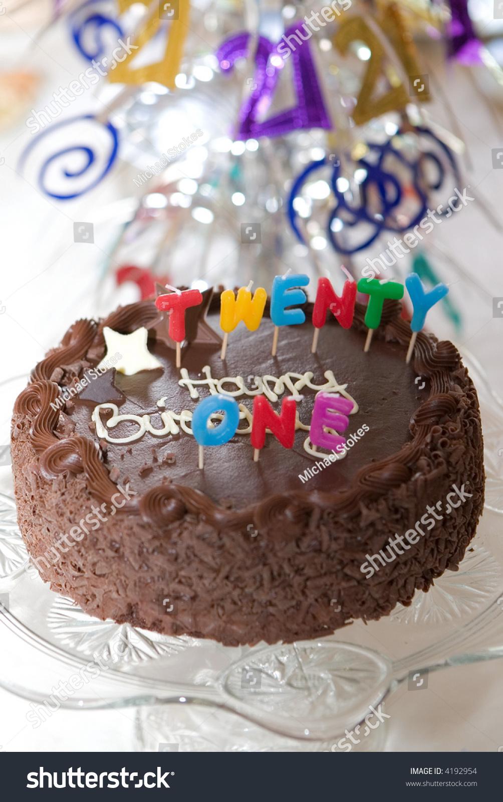 Birthday Cake 21st Birthday Party Table Stock Photo Edit Now