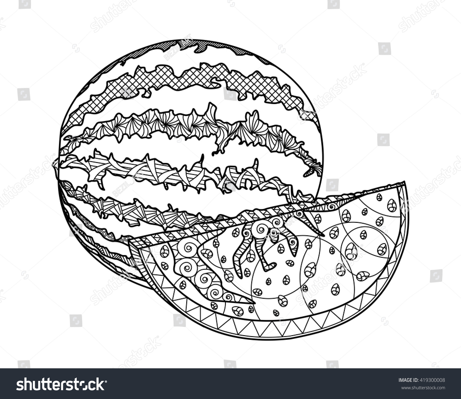 Coloring Pages Watermelon Large Piece For Children And Adults The Of