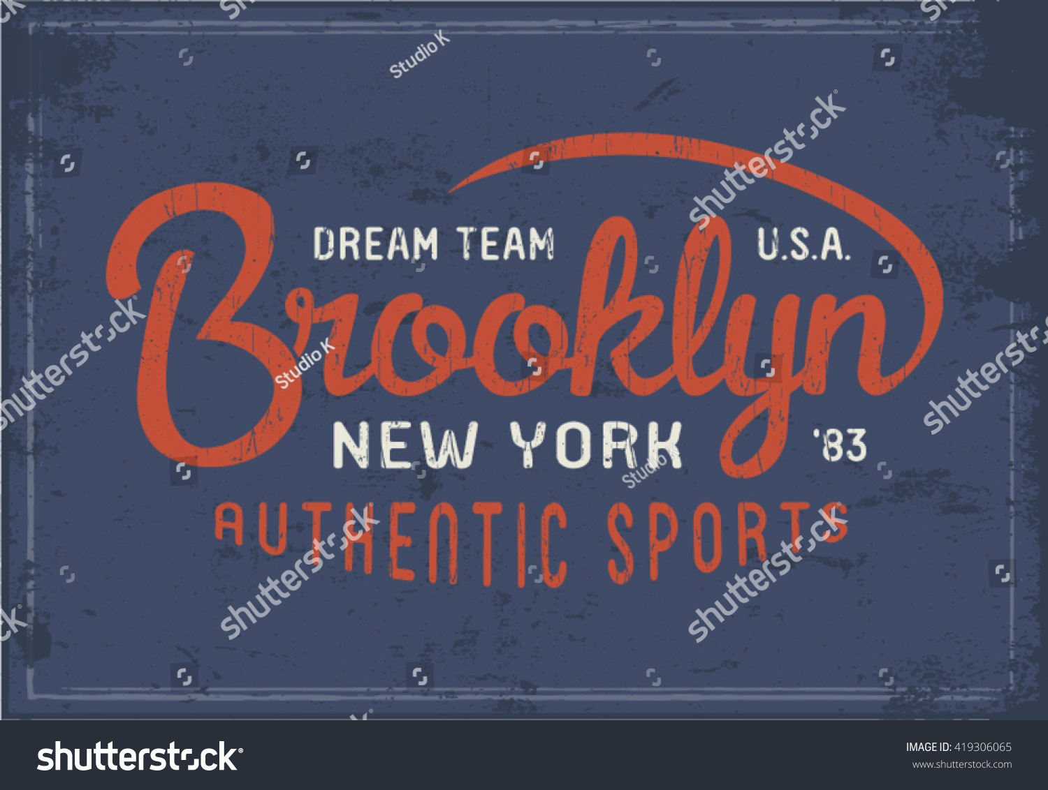 Brooklyn New York print for t-shirt or apparel authentic sports theme Old school graphic for fashion and printing Vector with retro design and typography Vintage effects are easily removable