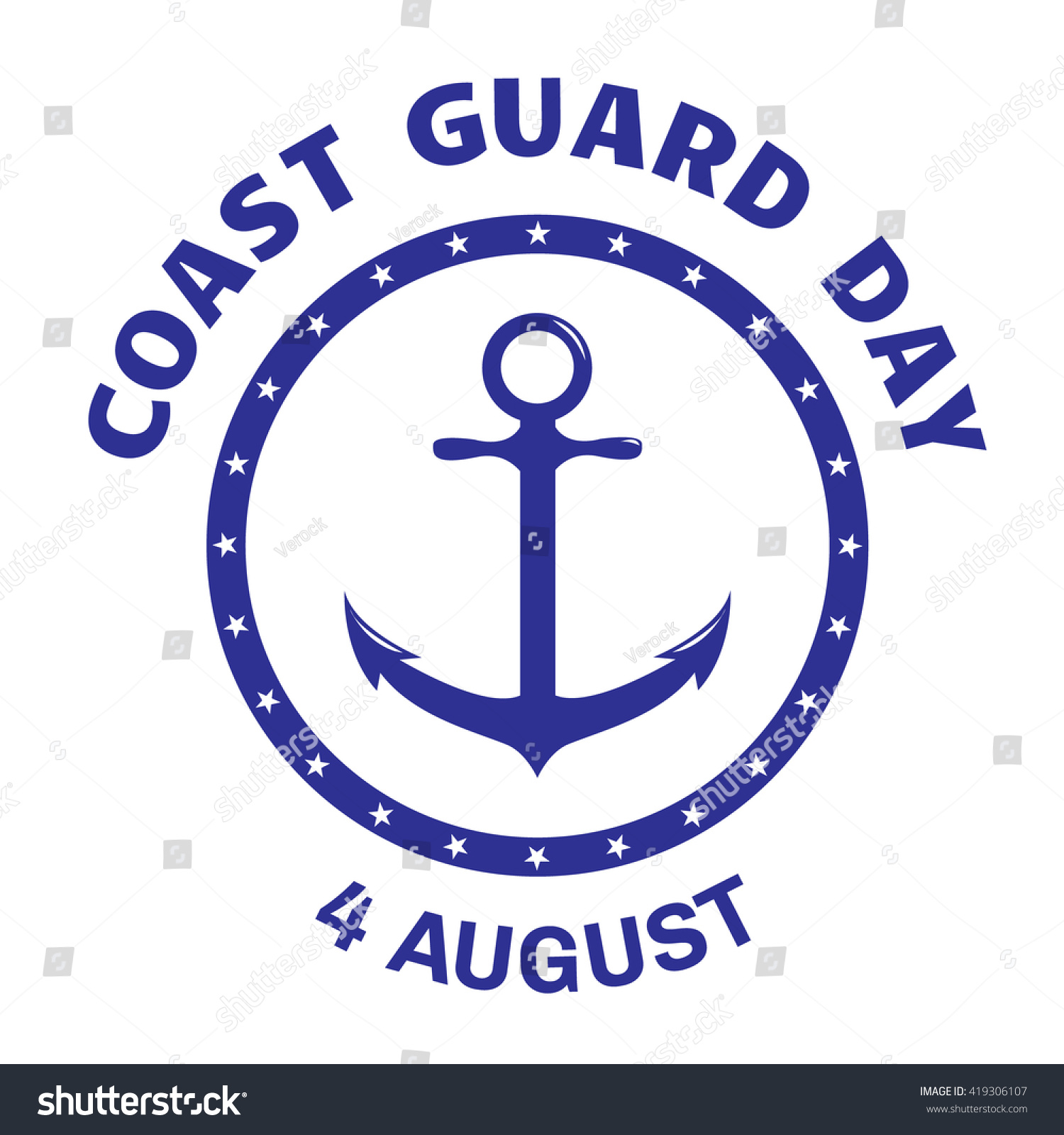 Beautiful pictures of coast guard business cards business cards coast guard day greeting card symbol stock vector magicingreecefo Image collections
