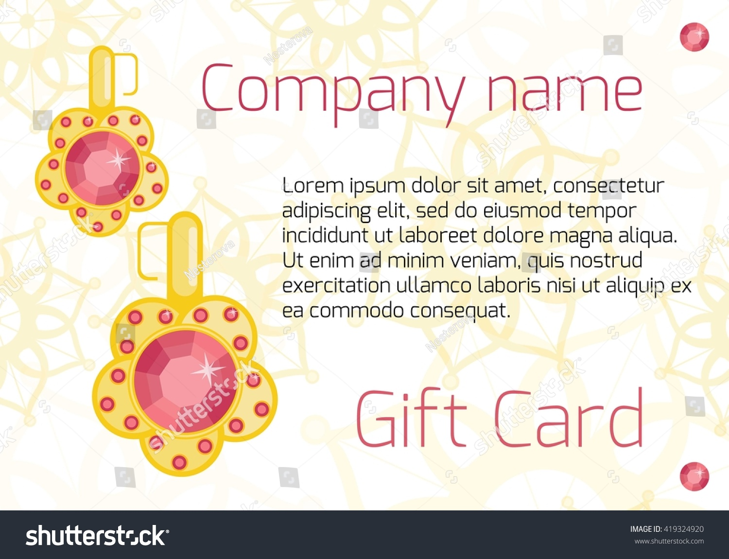 Vector jewelry invitation card voucher background stock vector vector jewelry invitation card or voucher background template jewelry store flyer concept for accessories yadclub Image collections