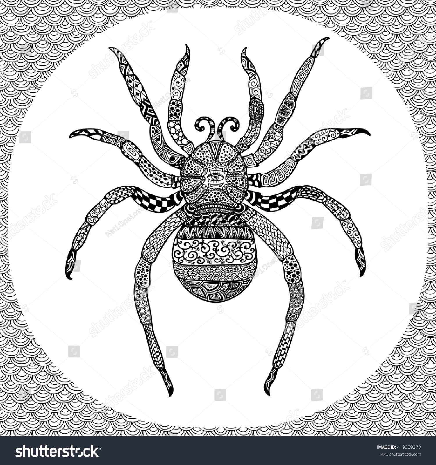 Coloring Page Of Black Spider With Hand Drawn Patterns Zentangle Vector Illustration Tribal Totem
