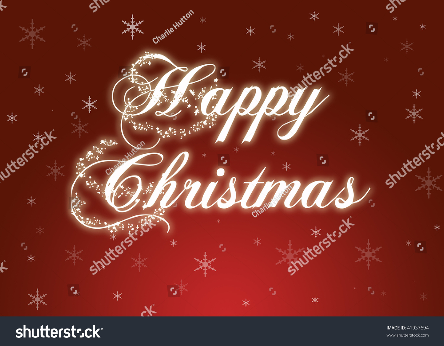 Happy Christmas Xmas Card On Red Stock Photo (Edit Now) 41937694 ...