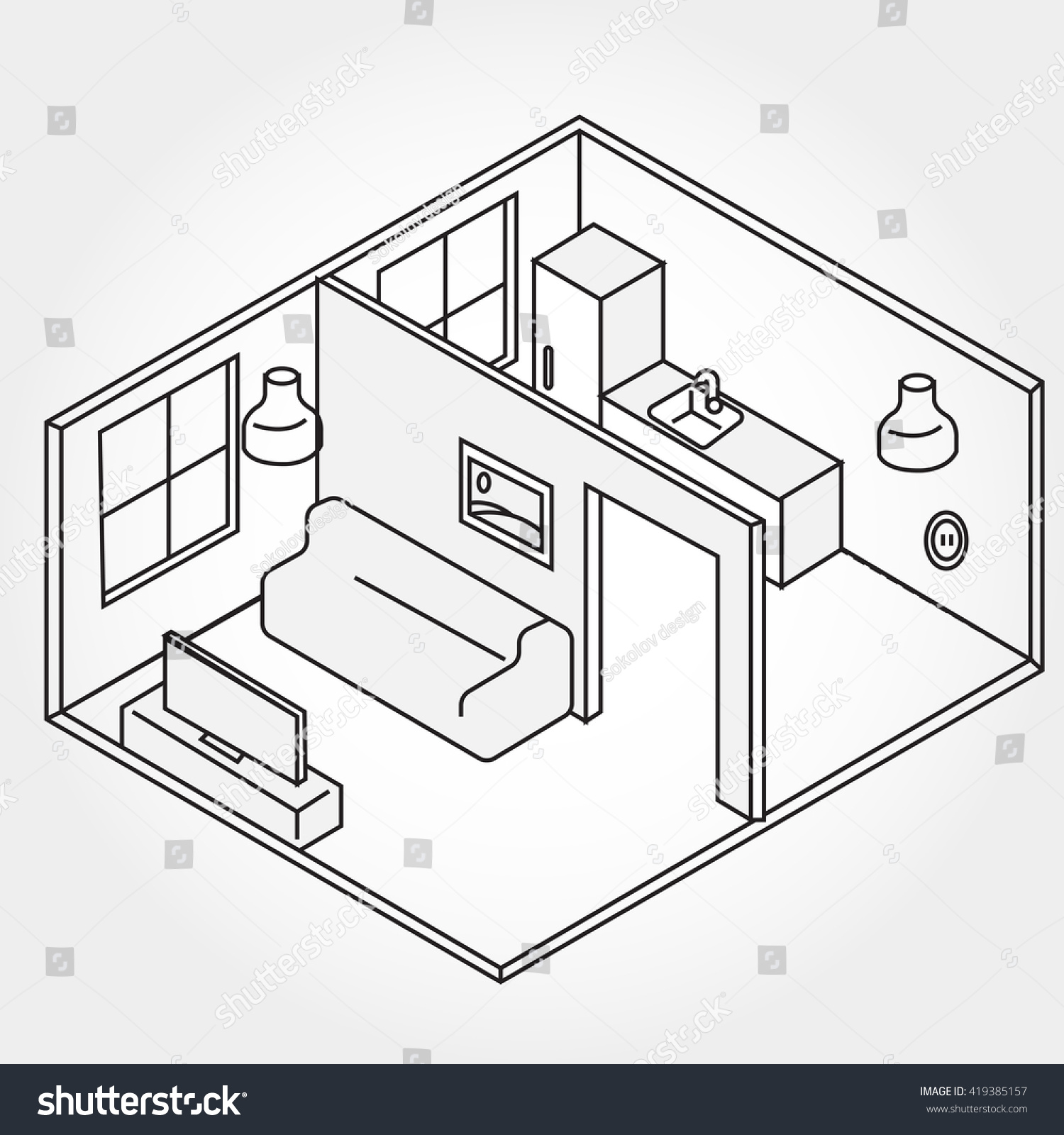 vector isometric living room icon illustration stock