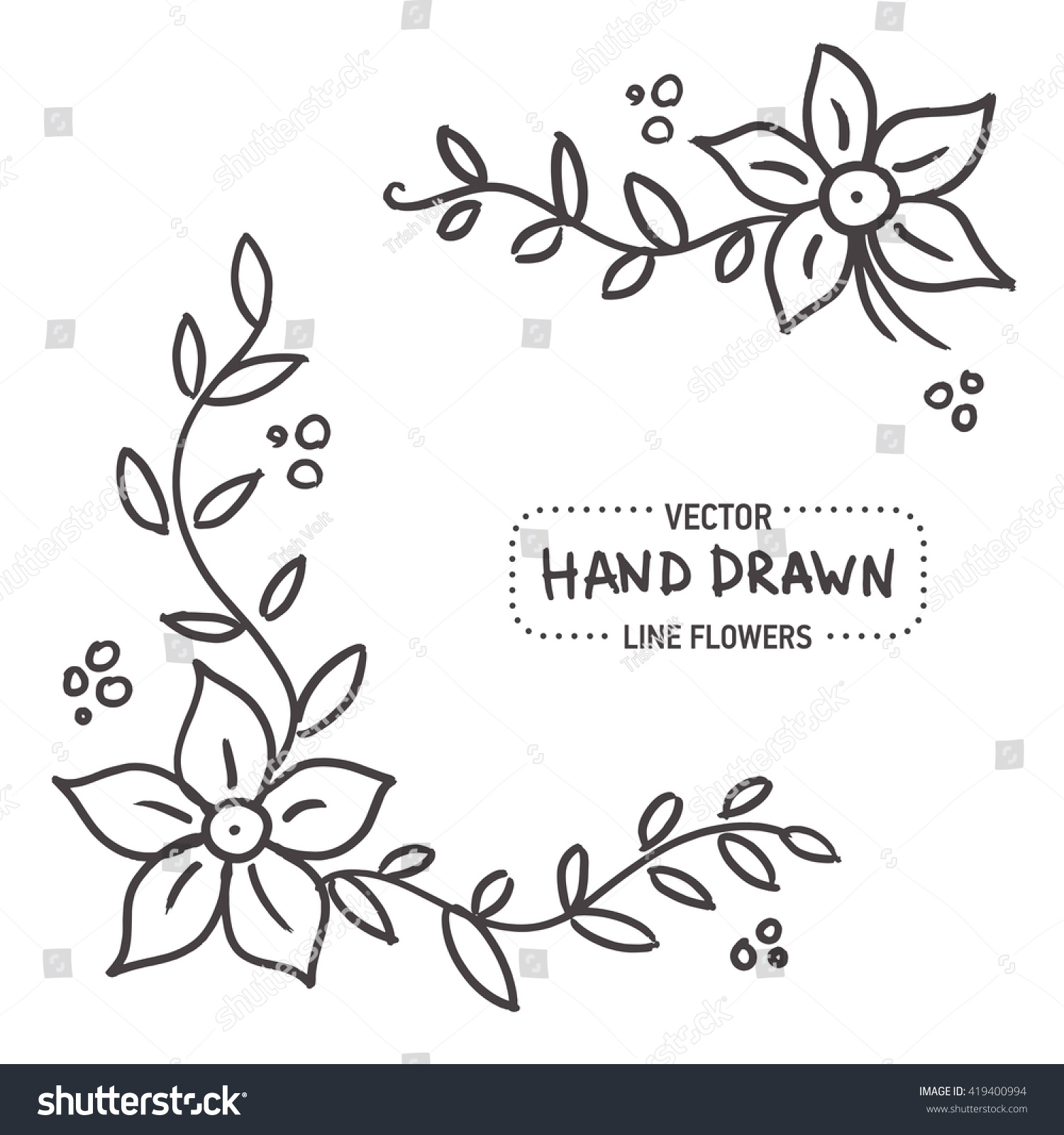Simple Ornate Flower Frame Design Sketchy Hand Drawn Element Vector Illustration