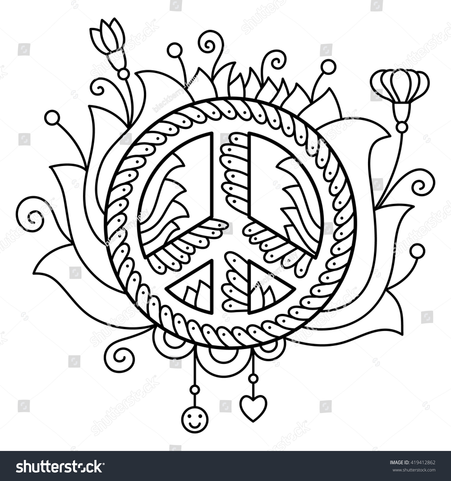 peace symbol coloring page vector stock vector 419412862