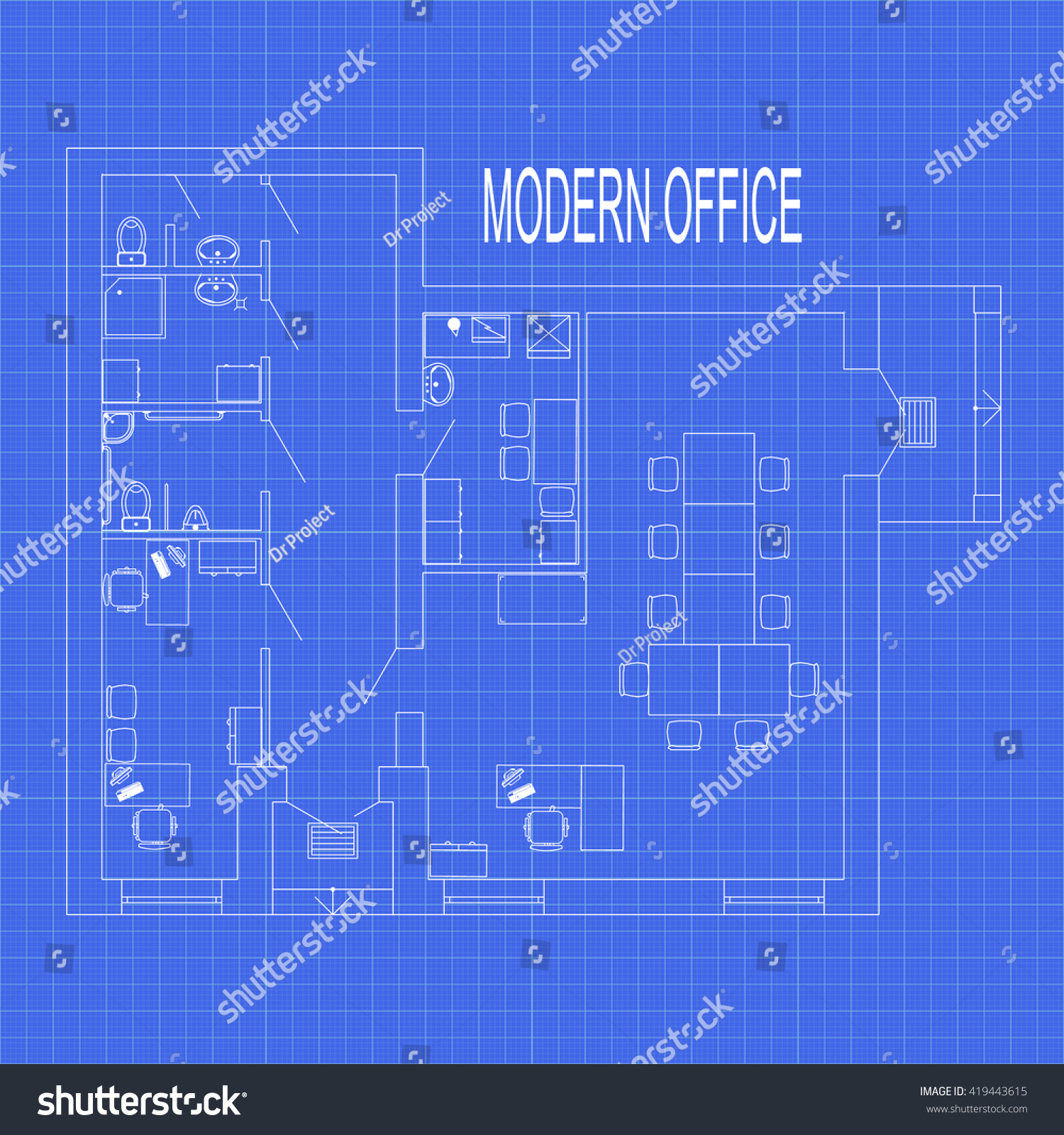modern office interior furniture on graph stock vector royalty free