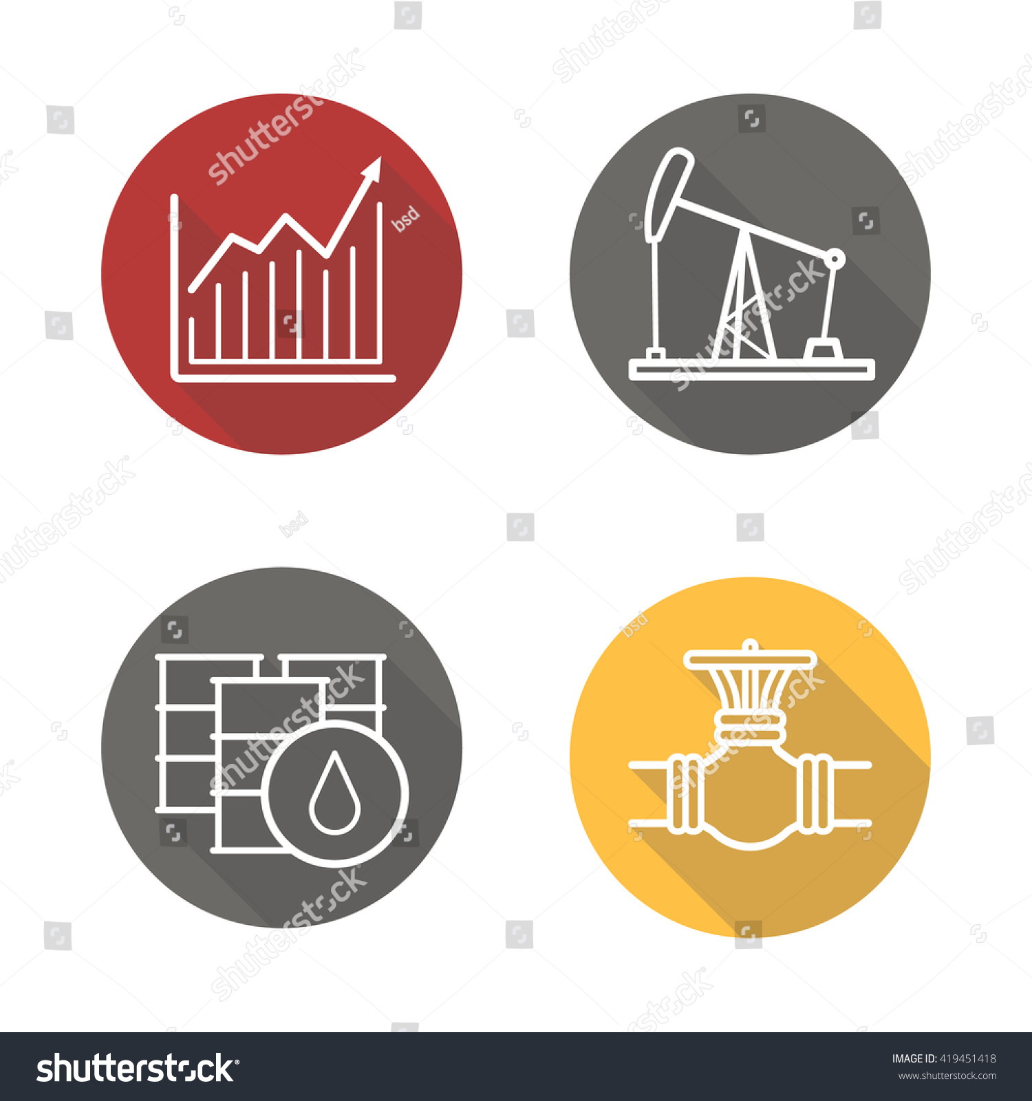 Oil Industry Flat Linear Long Shadow Stock Vector Royalty Free