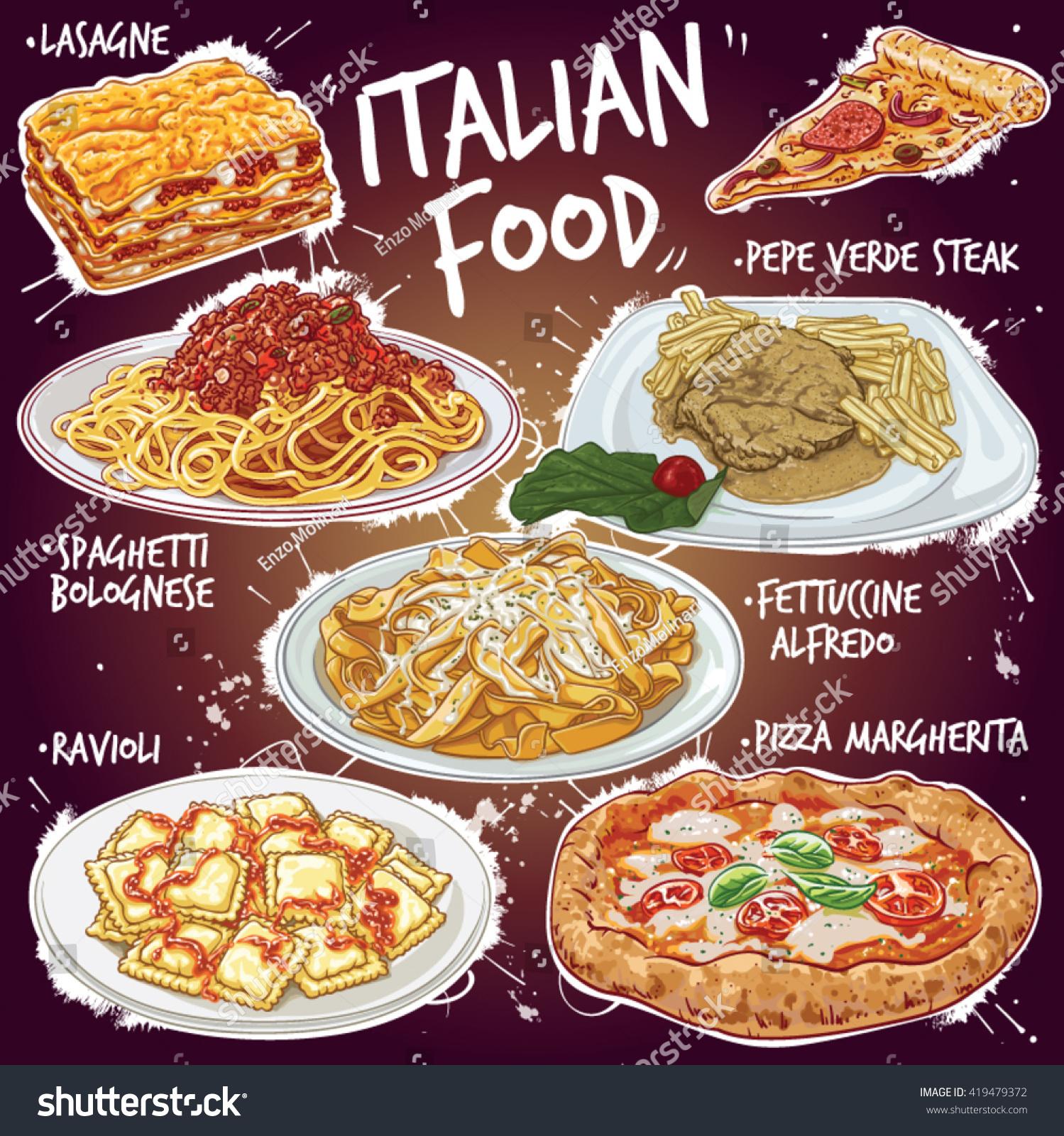 Hand drawn vector illustration popular italian stock for All about italian cuisine