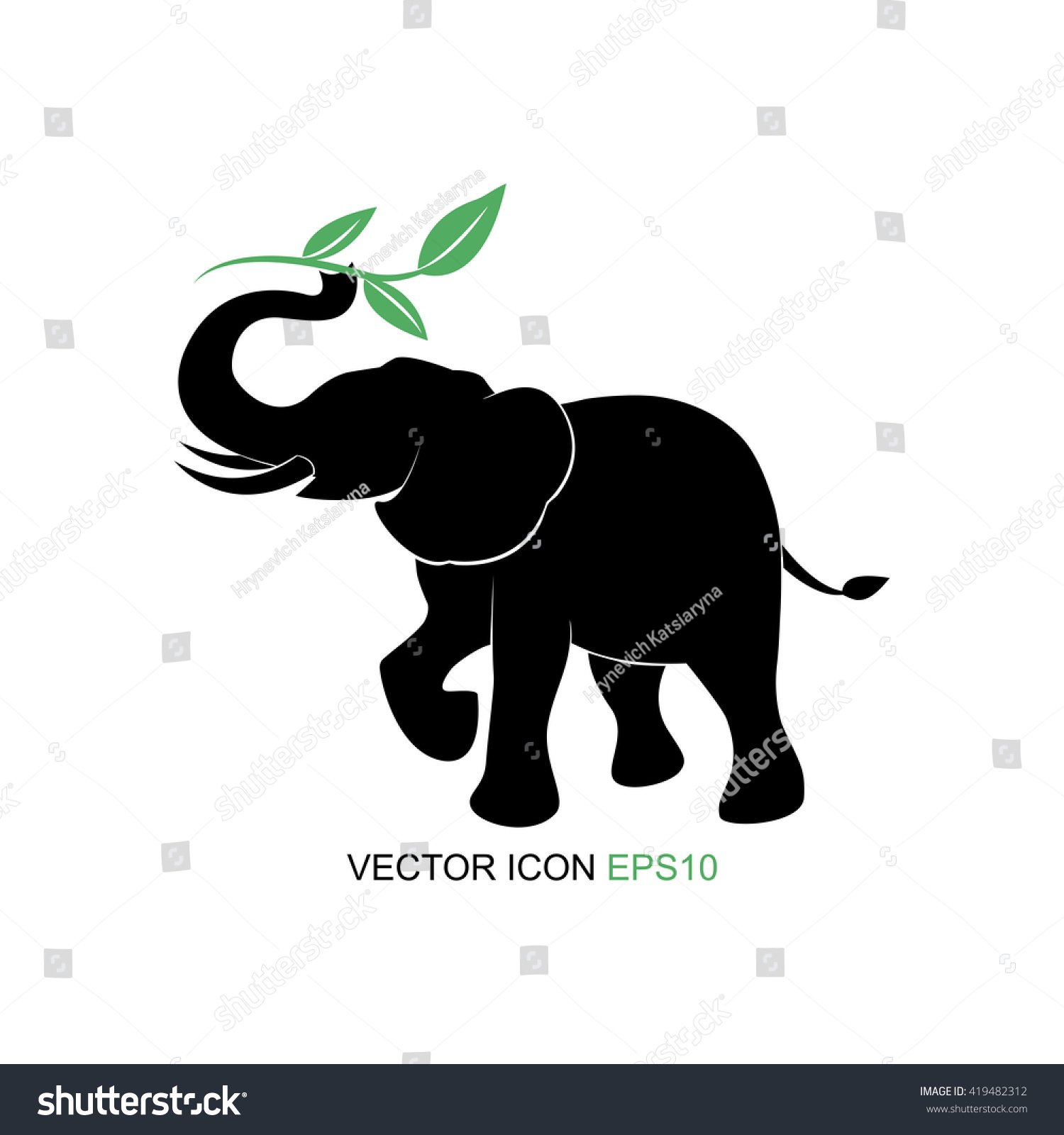 Elephant symbolvector illustration elephant picture tea sprigs elephant symbolctor illustration elephant picture tea and sprigs silhouette of an elephant buycottarizona Images