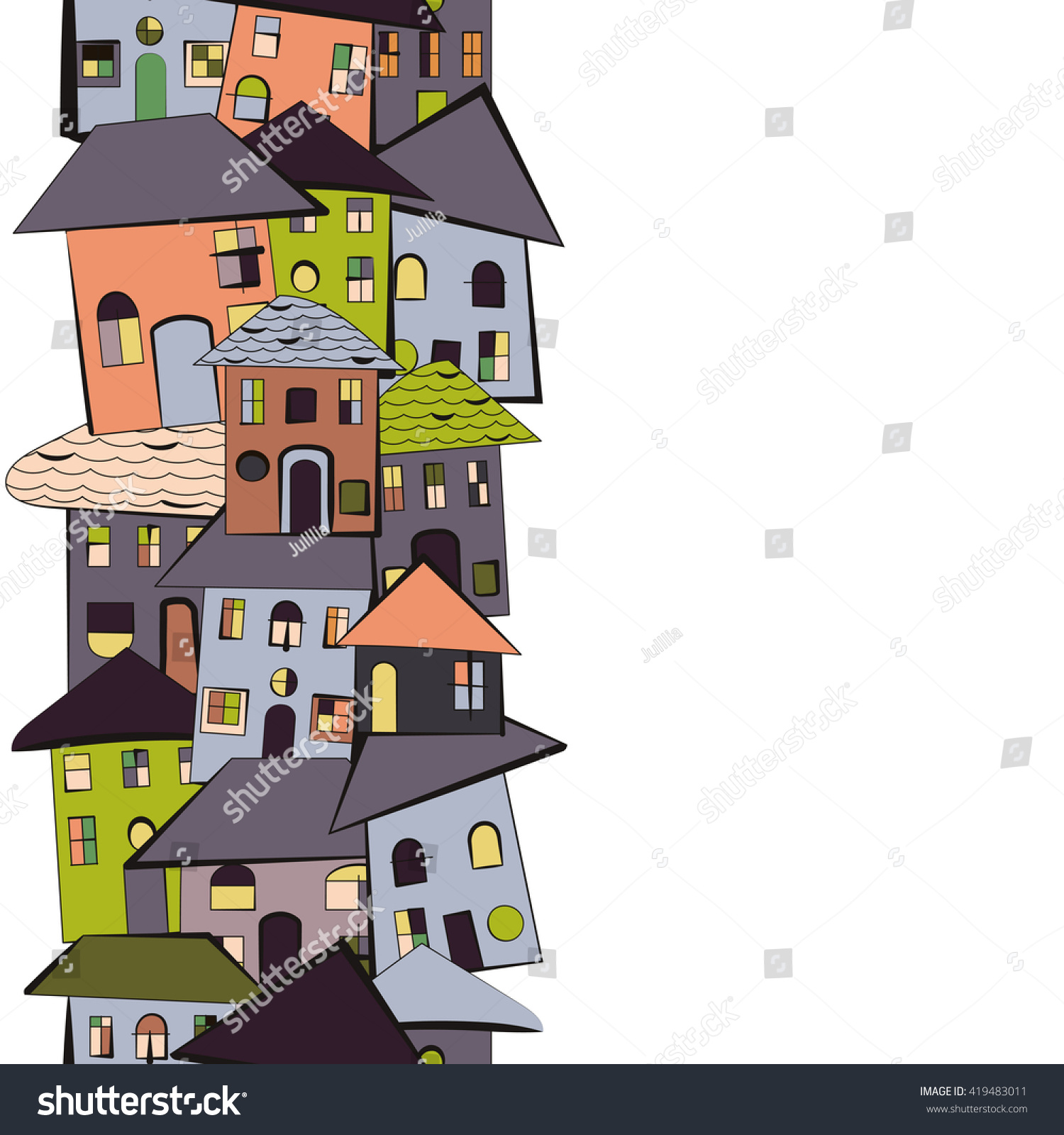 Crooked And Quirky Cartoon Tiny Houses With Roofs Windows Kids Style Drawing Vertical