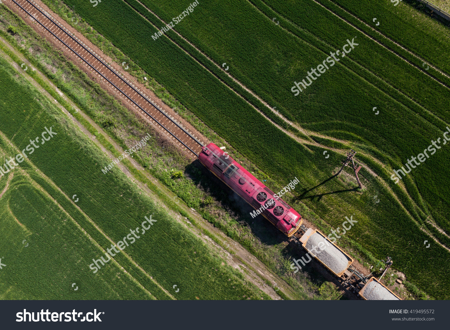 Aerial View Train On Railway Track Stock Photo 419495572 ...