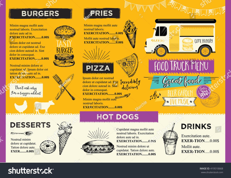 food truck festival menu food brochure stock vector