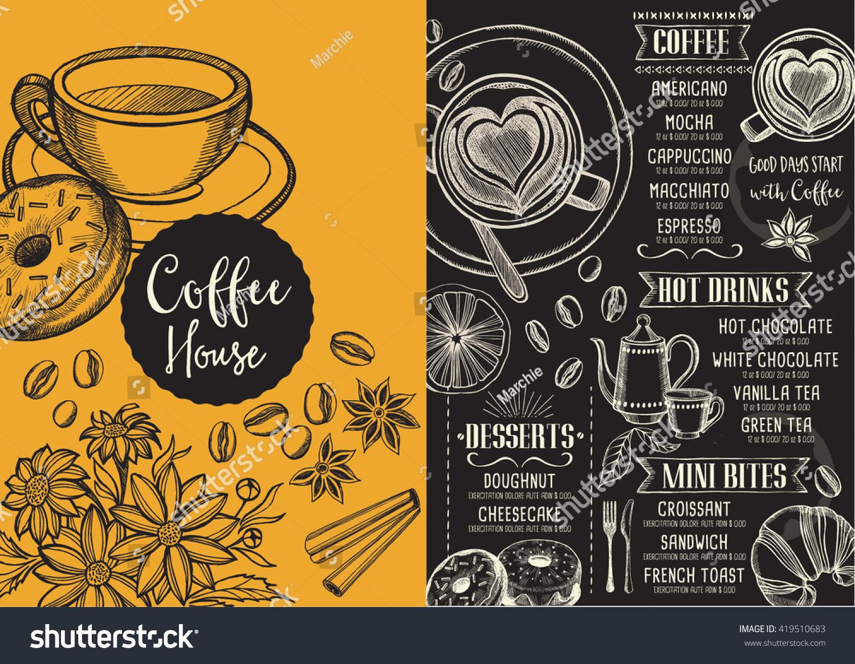 Coffee Menu Placemat Food Restaurant Brochure, Coffee Shop ...